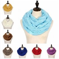 Wholesale circle wool scarves resale online - Fashion Knitted Warm Scarf Circle Loop Colors Wool Scarves Winter Scarf Women Men Neck Soft Scarves Party Favor DDA687