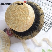 Wholesale hand made hats resale online - 2018 New Fashion Child Sun Hat Cute Girls Sun Hats Bow Hand Made Women Straw Cap Beach Big Brim Hat Casual Lace bbyECH yhshop2010