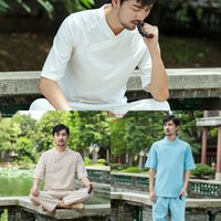 Wholesale yoga tai chi resale online - 7SkIw New white fitness suit householder clothes yoga clothes men s loose clothing meditation Yoga meditation Tai Chi clothing Men s spo