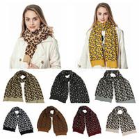 Wholesale crochet wool scarves resale online - Women Winter Wool Knitted Scarf Fashion Leopard Print Knitted Scarves Outdoor Wool Crochet Warm Windproof Shawl Party Favor colors RRA3745