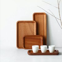 Wholesale food serves for sale - Group buy Solid Wood Pallet Rectangular Storage Trays Household Hotel Dessert Dinner Tea Food Tableware Serving Tray Home Kitchen Tools FWD2215