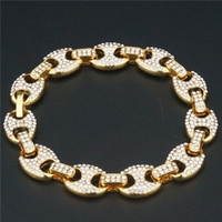 Wholesale food chains for sale - Group buy 8fEPH beans hop coffee stone wide pig nose accessories Hip word single row chain Gold mm braceletaccessories stone bracelet Diamond Brace