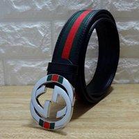 Wholesale green designer belt resale online - Popular Party Belts Men and Women Fashion Green Red Design Leather Canvas Belt High Quality Cowskin Waist Belt Jeans Casual Gird