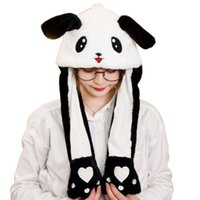 Wholesale earflap hat adult resale online - Children Adult Short Plush Cute D Cartoon Panda Animal Hat with Moving Ears Double Airbag Paws Warm Earflap Cap Toy Party Props