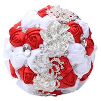 red artificial flower rhinestone 2021 - Wedding Bouquet Artificial Rose Posy with Satin Rhinestone Throw Bouquet Bride Holding Flowers Newly 30