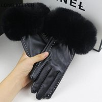 Wholesale women driving gloves resale online - LongKeeper Fashion Black PU Leather Gloves Women Winter Warm Full Finger Mittens Female Outdoor Driving Gloves Femme
