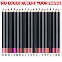Accept logo printing! 21 colors Lip Pencil 3in1 Matte Lip liner Pen eyebrow pencil eyeliner Waterproof Natural component customized logo