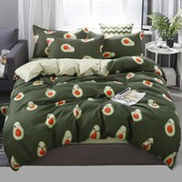 Wholesale black yellow gray sheets resale online - Cartoon King Queen Size Bedding Set Duvet Cover Set Korean Bed Sheet Duvet Cover Pillowcase Avocado Fish Bed Linen