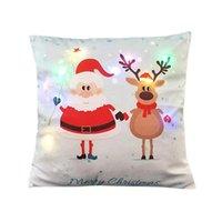 Wholesale christmas dec resale online - Multi Colors Christmas Led Lights Luminescent Lanterns Pillow Back Cushion Linen Innovative Pillowcase Party Festival House Dec wmteGL
