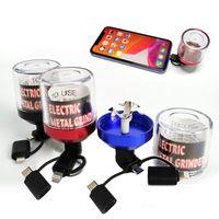 Wholesale grinder resale online - Aluminum Electric Tobacco Herb Grinder Metal Crusher Electrical Colors Fit USB andorid Phone Charge