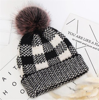 Wholesale crochet watermelon for sale - Group buy Womens Cuffed Plaid Beanies Imitated Mink Wool Beanies Winter Warm Skull Caps Knitted Hat with Pom Pom Fashion Sports Crochet Hats LY11062