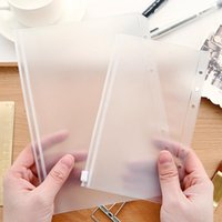 Wholesale zipper binder resale online - A5 A6 A7 Transparent Binder PVC Zipper Storage Bag Hole Waterproof Stationery Card Bills Bags Office Travel Portable Document Sack GWF2555