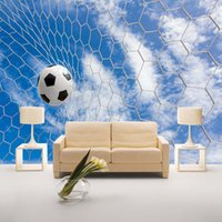 sky sports football venda por atacado-Personalizado Mural 3D Wallpaper Modern Fresco Sports Football Sala Quarto TV fundo da foto do céu azul Nuvens brancas