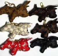 Wholesale headset french for sale - Group buy Luxur Keychains Design Buckle French Bulldog Diamond Key Pendant Holder Charm Trinket Bag Key Chain Car Headset Key Ring no box