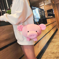 Discount pig phone holders Japanese And Bag Pig Shape Y404 Funny Small Solid Tide Ladies Cute Plush Bag Shoulder Korean Color Round Pache