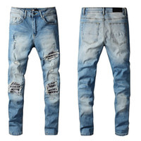 New Arrivals Mens Jeans Designers White Off Light Reflection Fit Arrival Biker Jeans Distressed Diamond Stripes Top Quality Pants Size 29-40