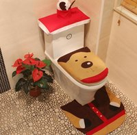 Wholesale christmas toilet covers resale online - Xmas Toilet Covers Santa Printed Toilet Covers carpet tank cover sets Fashion Christmas Toliet Decorations Party Gift EWB1451