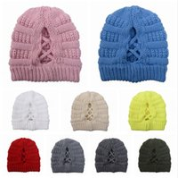 Wholesale ponytail beanie for sale - Group buy Women Knitted Cap Criss Cross Ponytail Beanie Woolen Hat Adult Outdoor Ski Skull Caps Winter Warm Woolen Casual Knitting Party Hats LJJP633