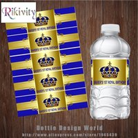 Wholesale baby boy prince crown for sale - Group buy 20 Custom Gold Crown Prince Birthday Water Bottle Wine Labels Candy Bar wrapper Boys Baby shower Birthday party decoration LJ201007