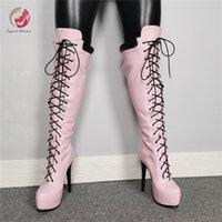 Wholesale elegant platform boots resale online - Original Intention New Stylish Lady Cross tied Pink Knee High Boots Woman Thin High Heels Platform Boots Elegant Plus Size