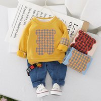 Wholesale denim suit for baby for sale - Group buy Baby Boys Clothing Sets Spring Autumn Toddler Cartoon Cute Tops Denim Pants Tracksuits For Bebe Boys Infant Jogging Suits Y1113
