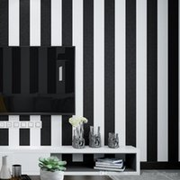 Wholesale deep decors resale online - Modern Fashion Black White Deep Embossed Vertical Stripes Wallpaper For Walls D Minimalist Designs Flocked Stripe Wall paper Home Decor
