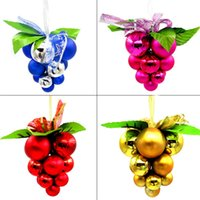 ingrosso dimensioni ornamento palla natale-Grape Shaped Ball String Ornaments Merry Christmas Artificial Small Size Grape String Hanging Decoration for Roof Ceiling DHE2150