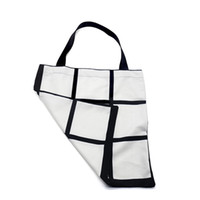 Wholesale white girls shopping for sale - Group buy Sublimation Grid Tote Bag Double Sides Blank White DIY Heat Transfer Sudoku Shopping bag Gridview Large Reusable Storage Handbag F102001