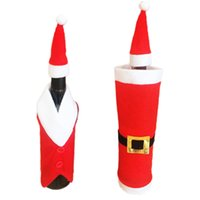 Wholesale santa cap decoration for sale - Group buy Christmas Decorations Christmas Clothes Wine Bottle Set For Dinner Gift Small Hat Wine Bottle Cap Santa Claus Champagne Wine Set BWB2497