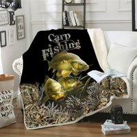 CLOOCL Animal Carp Fishing 3D Print Harajuku Air Conditioning Blanket Sofa Teens Bedding Throw Blankets Plush Quilt