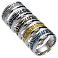 Wholesale inspired rings resale online - 316 Stainless Steel Jesus Cross Ring Finger Ring Nail Rings Pray Silver Gold Band Rings For Women Men Believe Inspired Jewelry