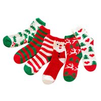 tubes de stockage achat en gros de-Women Christmas Socks Winter Warm Velvet Socks Soft Home Slipper Sock Anti-slip Floor Stocking For Middle Tube Xmas Decorations HH9-3588