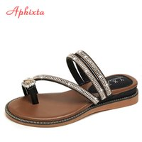 Wholesale leather babouche for sale - Group buy Aphixta Wedges Sandals Women Rhinestones Female Flip Flops Summer Modis Leather Crystal Slippers Ladies Babouche Bling Shoes