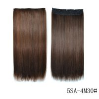 Wholesale extensions hairpieces clip human hair resale online - 22 Synthetic Clip In Human Hair Extensions Long Straight Hair Ombre Hairpiece