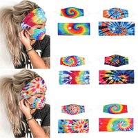 Wholesale blue dyed hair for sale - Group buy New Tie dye Hair Band Mask Set Button lanyard Dustproof Anti fog Breathable Antiperspirant Fashion Masks For Women EWA2092