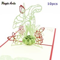 Wholesale 3d pop up birthday cards resale online - 10 Pack Lotus d Pop Up Card Birthday Gift With Envelope Sticker Flower Laser Cut Invitation Greeting Card Postcard yxlKvj