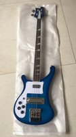 Wholesale two jack resale online - Custom string bass guitar blue transparent left hand stereo bass two output jacks provide customization