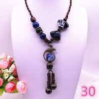Wholesale long ceramic pendant necklace resale online - Fashion Ethnic Jewelry Traditional Handmade Ornaments Weave Wax Rope Ceramics Necklace Ceramics Beads Pendant Long Necklace