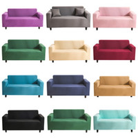 Wholesale slip covered sofas resale online - Stretch Elastic Sofa Cover Solid Color Sofa Towel Lving Room Fully wrapped Anti dust Slip resistant Sofa Slipcovers Couch Covers VT1904