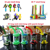 Wholesale small portable water bong resale online - Silicone small bong Percolators Perc Removable Straight Water Pipes coloured Portable foldable Smoking Water bongs silicone water bongs
