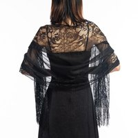 Wholesale evening shawls scarves resale online - Women Black Hollowing out Lace Scarf Elegant Long Tassel Tulle Scarf and Shawls Bride Wedding Evening Party Wraps capes