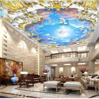 Wholesale wall painting trees photo resale online - Custom d Photo Wallpaper Ceiling Living Room Mural Sky Cherry Tree Court d Painting Picture d Wall Room Mural Wallpaper Non Woven Sticker