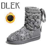 Wholesale cute knitted boots for sale - Group buy Knitting Mid Calf Snow Boots Winter Cute Shoes Girls Warm Slip On Flat Weave Wool Female Fringe Ladies Snow Long Boot
