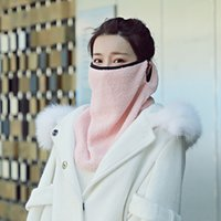 Wholesale female winter face mask for sale - Group buy Winter Warm Big Scarf Velvet Thickeed Outdoor Sports Female Creative Mask Solid Color Neck Face Protection Windproof Mask Scarf VT1801