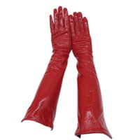 Wholesale long arm warm gloves resale online - Gloves ladies red new sheepskin patent leather bright leather gloves winter warm driving fashion beautiful long arm slee