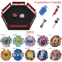 Wholesale beyblades toys set resale online - 10 beyblades burst hot set with Launcher handle and beyblades Arena Metal Fight Stadium B113 B118 Children Gifts Classic Toy