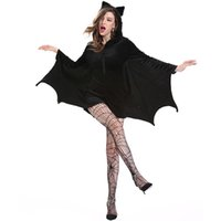 Wholesale batman dress women for sale - Group buy Halloween Female Cosplay Vampire Bat Costume Sexy Women Adult Cosplay Black Jumpsuit Connect Wings Batman Dress and Socks Gifts