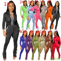 Wholesale leisure hooks resale online - Women Designer Tracksuit Two Piece Outfits Sports Leisure Fashion Long Sleeve Micro Flared Pants Set Zipper Top Plus Size Women Clothing