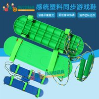 Wholesale balance board blue for sale - Group buy Three Person Synchronous Game Shoes Childrens Sports Props Sensory Balance Training Equipment Cooperation Board Household Toys