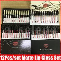 Wholesale white lip gloss for sale - Group buy Black White Flash Marble Lip Makeup Full Size set Matte Liquid lipstick Kit Lips Lipgloss Kollection Lip Gloss Set